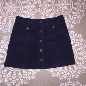 Forever 21 Ribbed Navy Button Up Jean skirt